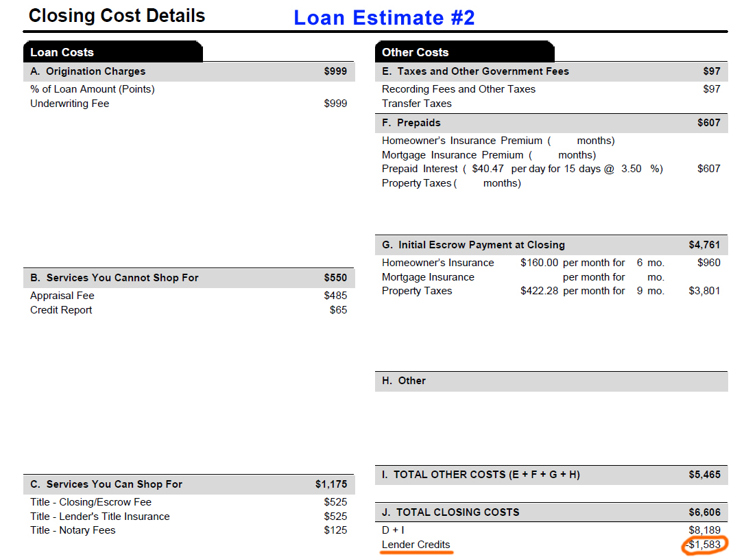 Loan Estimate Page 2 >> How To Shop The Best Rate